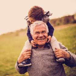 Picture of grandfather playing with grandkid